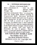 1948 Bowman REPRINT #46  Herm Wehmeier  Back Thumbnail
