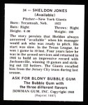 1948 Bowman REPRINT #34  Sheldon Jones  Back Thumbnail