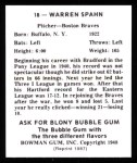 1948 Bowman REPRINT #18  Warren Spahn  Back Thumbnail