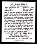 1948 Bowman REPRINT #45  Hank Sauer  Back Thumbnail