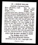 1948 Bowman REPRINT #39  Augie Galan  Back Thumbnail