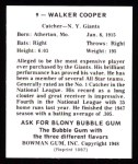 1948 Bowman REPRINT #9  Walker Cooper  Back Thumbnail