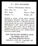 1948 Bowman REPRINT #31  Bill McCahan  Back Thumbnail