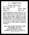 1948 Bowman REPRINT #12  Johnny Sain  Back Thumbnail