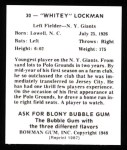 1948 Bowman REPRINT #30  Whitey Lockman  Back Thumbnail