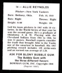 1948 Bowman REPRINT #14  Allie Reynolds  Back Thumbnail