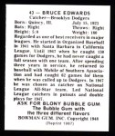 1948 Bowman REPRINT #43  Bruce Edwards  Back Thumbnail