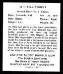 1948 Bowman REPRINT #32  Bill Rigney  Back Thumbnail
