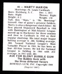 1948 Bowman REPRINT #40  Marty Marion  Back Thumbnail