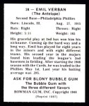1948 Bowman REPRINT #28  Emil Verban  Back Thumbnail
