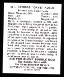 1948 Bowman REPRINT #48  Dave Koslo  Back Thumbnail