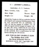 1948 Bowman REPRINT #11  Johnny Lindell  Back Thumbnail