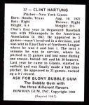 1948 Bowman REPRINT #37  Clint Hartung  Back Thumbnail