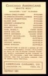 1922 E120 American Caramel Reprint #25  Johnny Mostil  Back Thumbnail