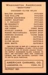 1922 E120 American Caramel Reprint #109  Stanley Harris  Back Thumbnail