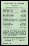 1922 E120 American Caramel Reprint #225  Pie Traynor  Back Thumbnail