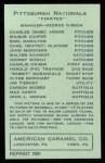 1922 E120 American Caramel Reprint #216  Charles Glazner  Back Thumbnail
