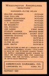 1922 E120 American Caramel Reprint #111  Joe Judge  Back Thumbnail