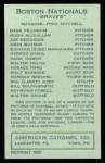 1922 E120 American Caramel Reprint #129  Rube Marquard  Back Thumbnail