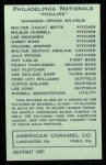 1922 E120 American Caramel Reprint #210  Russel Wrightstone  Back Thumbnail