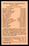 1922 E120 American Caramel Reprint #116  Val Picinich  Back Thumbnail