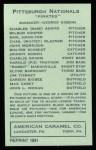 1922 E120 American Caramel Reprint #214  Max Carey  Back Thumbnail