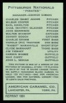 1922 E120 American Caramel Reprint #220  Rabbit Maranville  Back Thumbnail