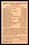 1922 E120 American Caramel Reprint #74  Bob Shawkey  Back Thumbnail