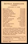 1922 E120 American Caramel Reprint #48  Ty Cobb  Back Thumbnail