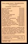 1922 E120 American Caramel Reprint #84  Bing Miller  Back Thumbnail