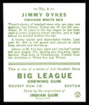 1933 Goudey Reprint #6  Jimmy Dykes  Back Thumbnail