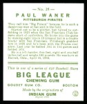1933 Goudey Reprint #25  Paul Waner  Back Thumbnail
