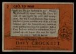 1956 Topps Davy Crockett #2 ORG  Call to War   Back Thumbnail