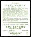 1933 Goudey Reprint #25  Paul Waner  Back Thumbnail