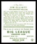 1933 Goudey Reprint #132  Jim Elliott  Back Thumbnail