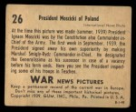 1939 Gum Inc. War News Pictures #26   President Moscicki of Poland Back Thumbnail