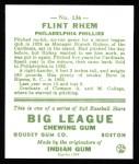 1933 Goudey Reprints #136  Flint Rhem  Back Thumbnail