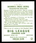 1933 Goudey Reprints #158  Moe Berg  Back Thumbnail