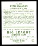 1933 Goudey Reprints #195  Evar Swanson  Back Thumbnail