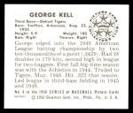 1950 Bowman REPRINT #8  George Kell  Back Thumbnail