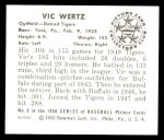 1950 Bowman REPRINT #9  Vic Wertz  Back Thumbnail