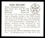 1950 Bowman REPRINT #14  Alex Kellner  Back Thumbnail