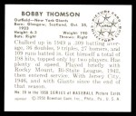1950 Bowman REPRINT #28  Bobby Thomson  Back Thumbnail