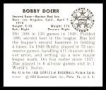 1950 Bowman REPRINT #43  Bobby Doerr  Back Thumbnail