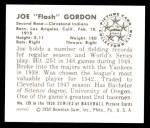 1950 Bowman REPRINT #129  Joe Gordon  Back Thumbnail