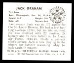 1950 Bowman REPRINT #145  Jack Graham  Back Thumbnail