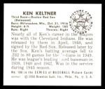 1950 Bowman REPRINT #186  Ken Keltner  Back Thumbnail