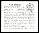1950 Bowman REPRINT #207  Max Lanier  Back Thumbnail