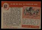 1954 Topps World on Wheels #62   40-mm M2 Dual Self-Propelled Guns Back Thumbnail