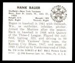 1950 Bowman REPRINT #219  Hank Bauer  Back Thumbnail